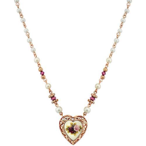 1928 Jewelry Faux Pearl Purple Beaded Heart Necklace