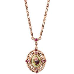 1928 Jewelry Rose Gold Tone Flower Oval Pendant Necklace