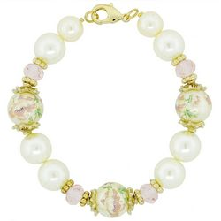 1928 Jewelry Faux Pearl Pink Floral Beaded Stretch Bracelet