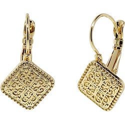 1928 Jewelry Gold Tone Square Leverback Drop Earrings