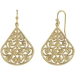 1928 Jewelry Gold Tone Pear Shape Filigree Drop Earrings