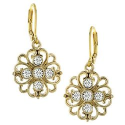 1928 Jewelry Gold Tone Simulated Crystal Flower Earrings