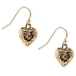 1928 Jewelry Gold Tone Flower Heart Drop Earrings