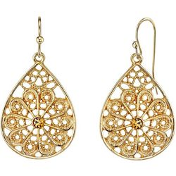 1928 Jewelry Gold Tone Crystal Elements Filigree Earrings