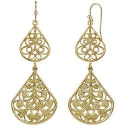 1928 Jewelry Gold Tone Filigree Double Drop Earrings
