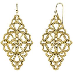 1928 Jewelry Gold Tone Filigree Diamond Shaped Earrings