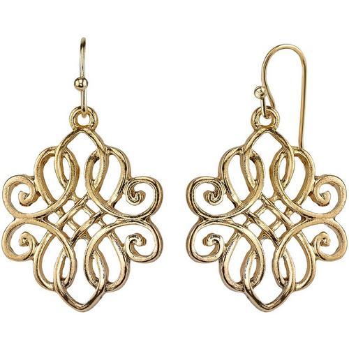 1928 Jewelry Gold Tone Filigree Drop Earrings