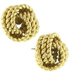 1928 Jewelry Gold Tone Knot Stud Earrings