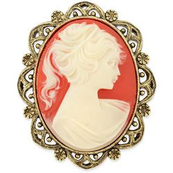 1928 Jewelry Gold Tone Simulated Carnelian Cameo Oval Brooch