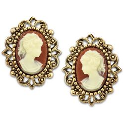 1928 Jewelry Gold Tone Simulated Cameo Stud Earrings