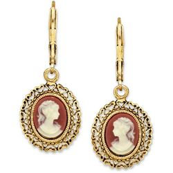 1928 Jewelry Simulated Dark Carnelian Cameo Drop Earrings