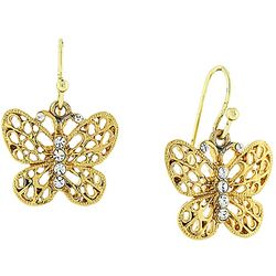 1928 Jewelry Gold Tone Filigree Butterfly Drop Earrings