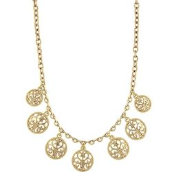 1928 Jewelry Gold Tone Round Open Lattice Necklace