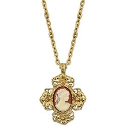 1928 Jewelry Dark Carnelian Cross Cameo Pendant Necklace