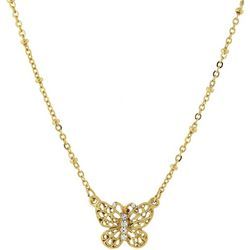 1928 Jewelry Gold Tone Filigree Butterfly Pendant Necklace