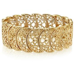 1928 Jewelry Gold Tone Half Circle Filigree Stretch