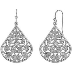 1928 Jewelry Silver Tone Pear Shape Filigree Drop Earrings