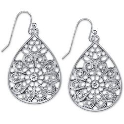 1928 Jewelry Silver Tone Crystal Elements Filigree Earrings