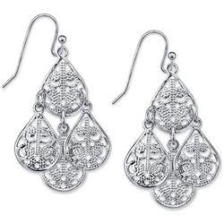 1928 Jewelry Silver Tone Multi Pear Shaped Drop Earrings
