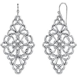 1928 Jewelry Silver Tone Filigree Diamond Shaped Earrings