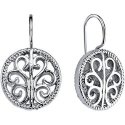 1928 Jewelry Silver Tone Round Open Work Drop Earrings