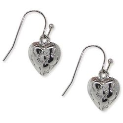 1928 Jewelry Silver Tone Flower Heart Drop Earrings