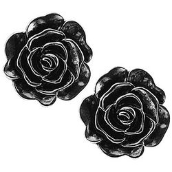 1928 Jewelry Silver Tone Flower Stud Earrings