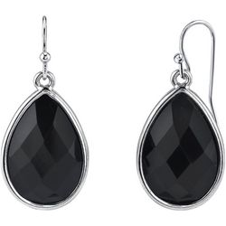 1928 Jewelry Black Faceted Pear Shape Drop Earrings