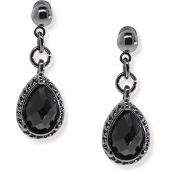 1928 Jewelry Hematite Tone Black Multi-Faceted Drop Earrings