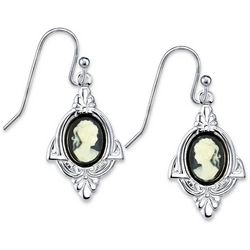 1928 Jewelry Silver Tone Simulated Cameo Drop Earrings