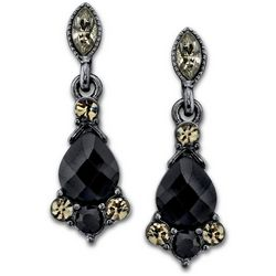 1928 Jewelry Black & Grey Crystal Elements Earrings