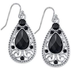 1928 Jewelry Black Crystal Elements Teardrop Earrings