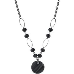 1928 Jewelry Black Round Drop Pendant Necklace