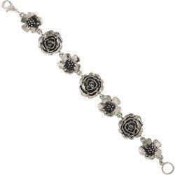 1928 Jewelry Silver Tone Flower Clasp Bracelet