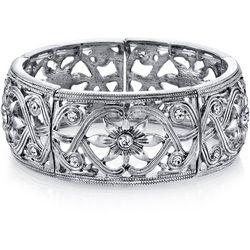 1928 Jewelry Silver Tone Crystal Elements Flower Bracelet