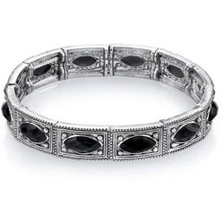 1928 Jewelry Black Rhinestone Silver Tone Stretch Bracelet
