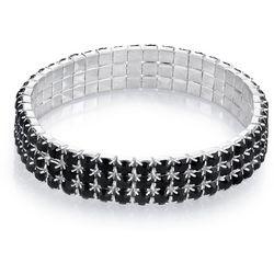 1928 Jewelry 3 Row Black Rhinestone Stretch Bracelet