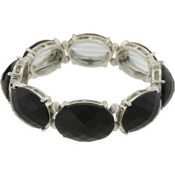 1928 Jewelry Black Opaque Oval Faceted Stretch Bracelet
