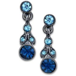 1928 Jewelry Hematite Tone Blue Crystal Elements Earrings