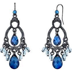 1928 Jewelry Blue Briolette Chandelier Drop Earrings