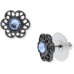 1928 Jewelry Blue Flower Stud Earrings