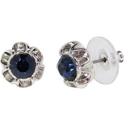 1928 Jewelry Silver Tone Blue Flower Stud Earrings