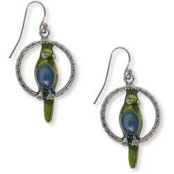1928 Jewelry Blue & Green Enamel Parrot Hoop Earrings