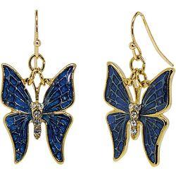 1928 Jewelry Blue & Crystal Accents Butterfly Drop Earrings
