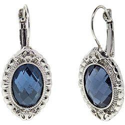 1928 Jewelry Blue Multi-Faceted Drop Earrings