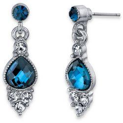 1928 Jewelry Blue Crystal Elements Pear Shape Drop Earrings