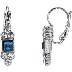 1928 Jewelry Simulated Montana Blue Crystal Square Earrings