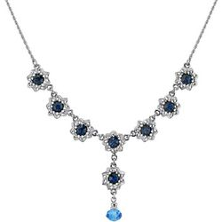 1928 Jewelry Blue Crystal Elements Flower Y-Necklace