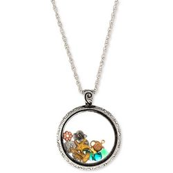 1928 Jewelry Round Glass Vial Charms Pendant Necklace