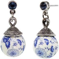 1928 Jewelry Round Blue Willow Beaded Drop Earrings